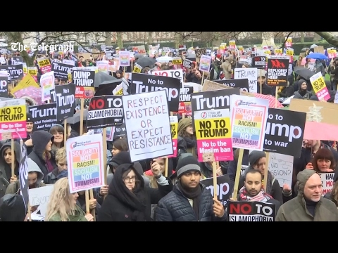 Thousands protest Trump's travel ban outside US embassy in London