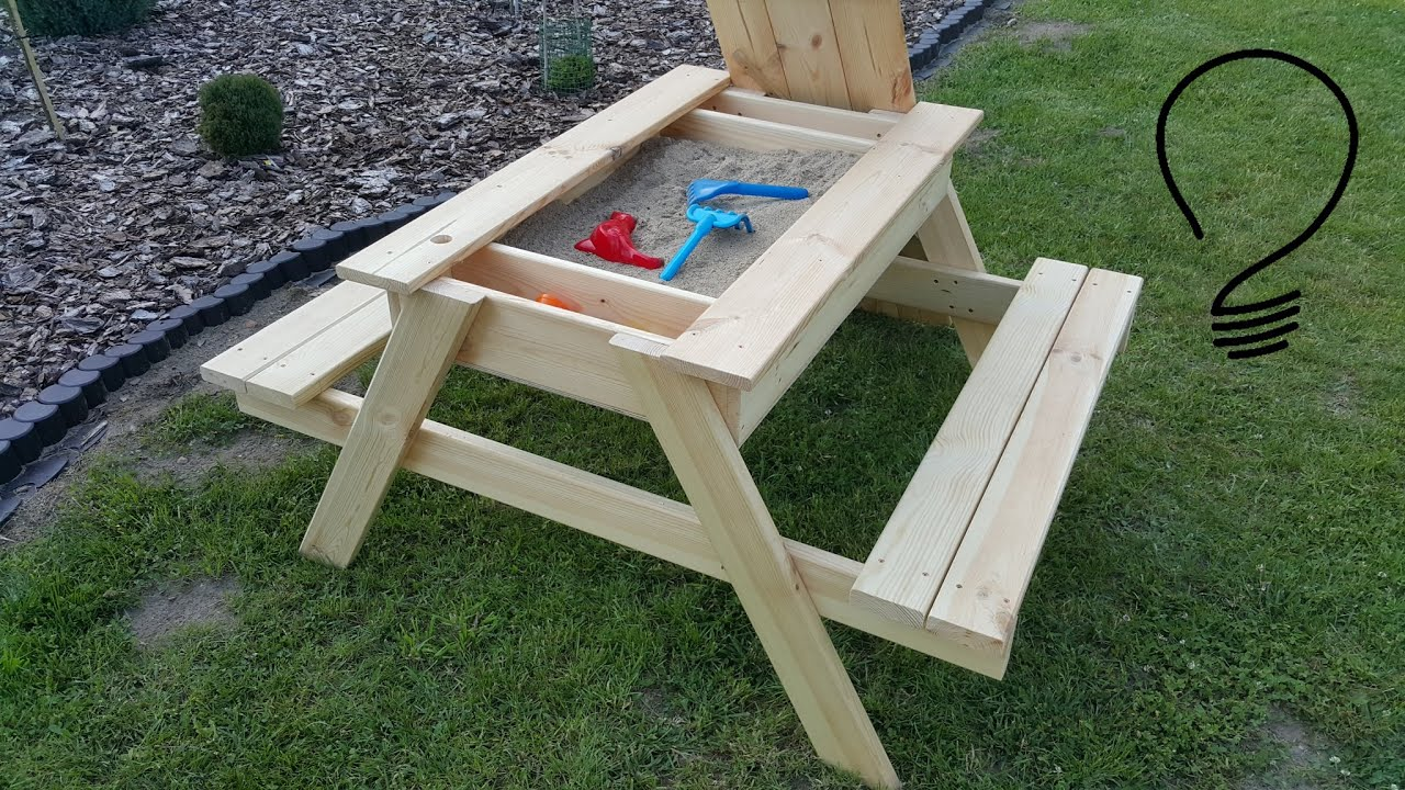How To Make a Sandbox Picnic Table - YouTube