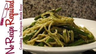 Spaghetti With Asparagus & Pesto - Noreciperequired.com