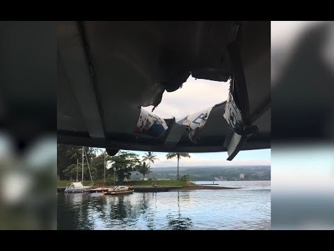 LAVA BOMB:  Lava bomb crashes through tourist boat roof injuring 12