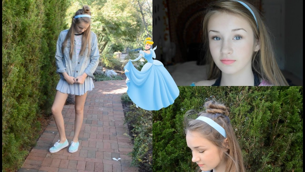 sc 1 st  YouTube & DIY Cinderella Halloween Costume (Hair Makeup u0026 Outfit) - YouTube