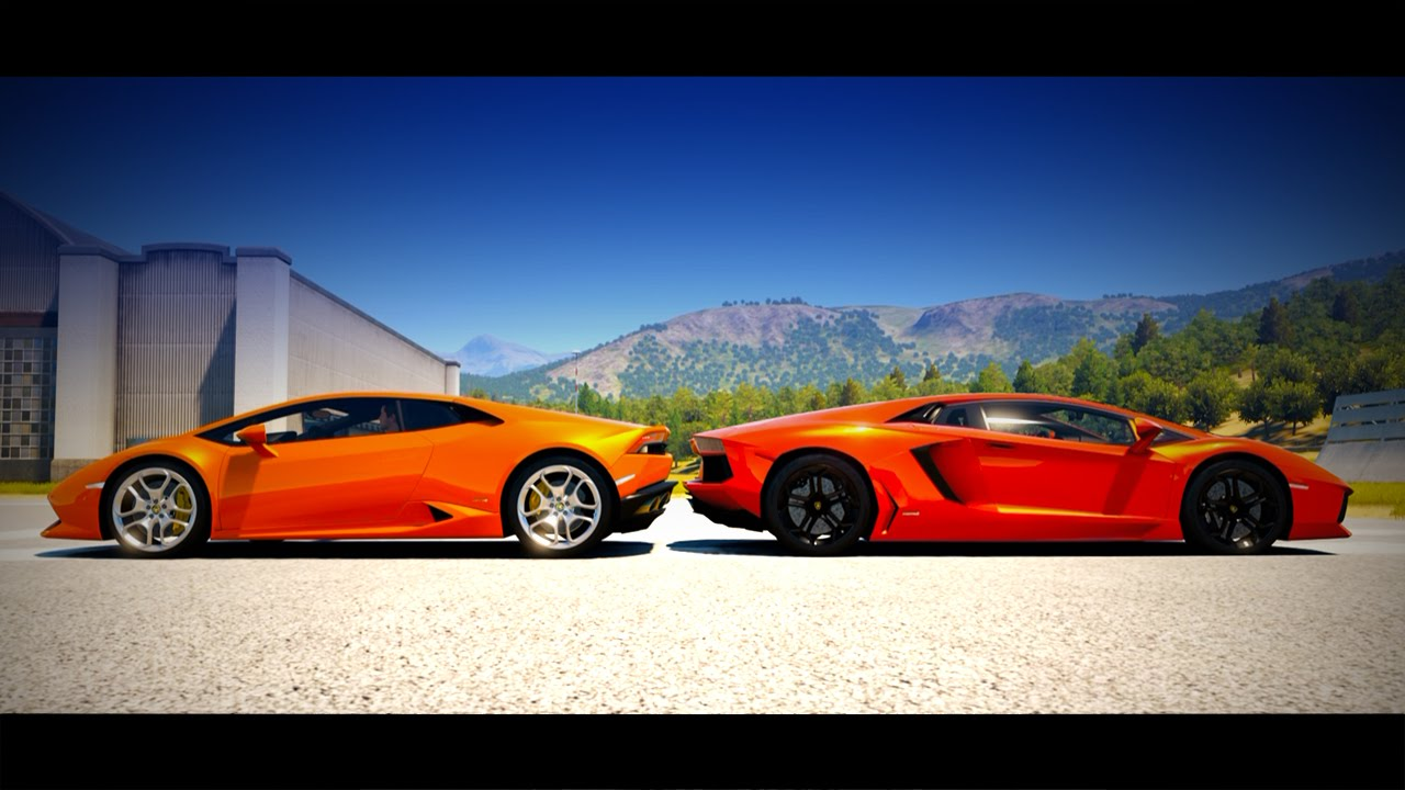 lamborghini hurac n vs lamborghini aventador drag race forza horizon 2 y. Black Bedroom Furniture Sets. Home Design Ideas