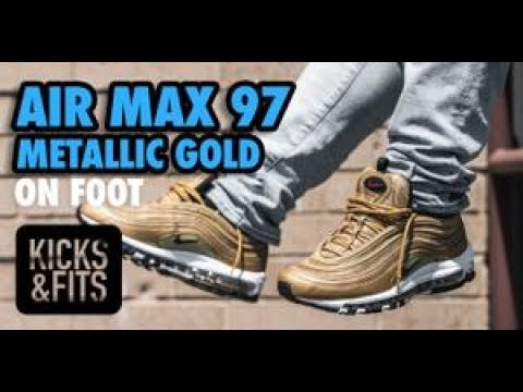 NIKE AIR MAX 97 GOLD ON FEET YouTube