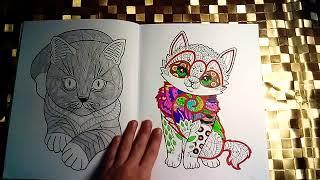 """Обзор моей новой раскраски. ,,Cats"""" Линда Тейлор.🐈"""