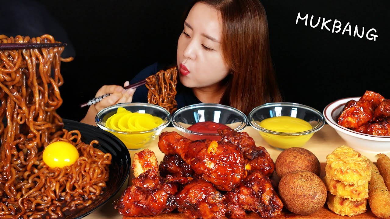 ASMR 먹방 :) 짜파게티, 블랙쏘이치킨, 매콤 김떡만, 크림치즈볼, 치즈스틱, 할라피뇨 너겟. MUKBANG.