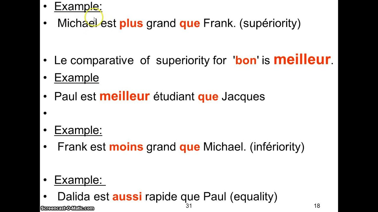 French Comparative Adjective Youtube
