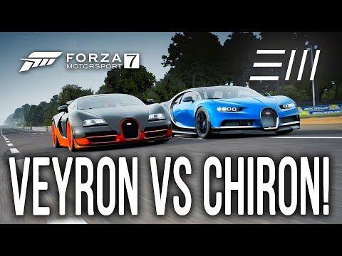 Forza 7 - *NEW* Bugatti CHIRON vs Bugatti VEYRON Super Sports (Speedway/Drag/Circuit) CHALLENGE!