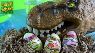 Dinosaur surprise eggs DINO FIZZ hatching & fizzing with Jurassic World T-rex toys videos