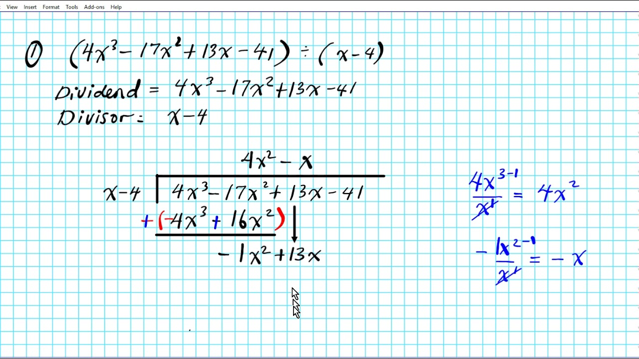 Divide Polynomials By Long Division