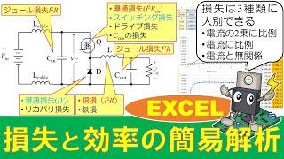 【パワエレ】コンバータの各種損失と電力変換効率の簡易解析 Loss and Power Conversion Efficiency Calculation Example for Converter