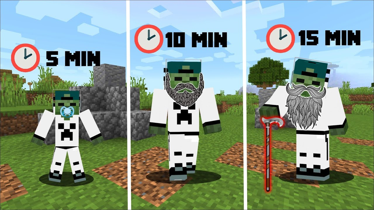 EVERY 5 MINUTES I GET OLDER IN MINECRAFT !! (Funny Trolling) !!