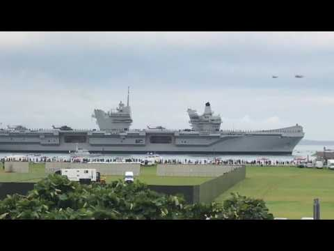HMS Queen Elizabeth arriving in Portsmouth
