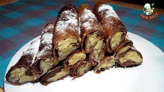 Шоколадные блинчики с банановой начинкой. Блины с бананом.