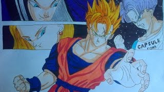 Drawing Future Gohan and Trunks vs C18 and C17