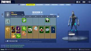 """fortnite season 4 battle pass"" all rewards (Skins emotes back bling v-bucks & challenges)"