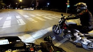 MT-10 / FZ-10 Late Night Street Fight with Ducati Monster 1200 S