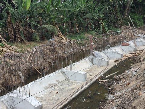 Kho Tư liệu Xây dựng - Các bước thi công bờ kè cho đường giao thông ven rạch  Cấu tạo cốt thép bờ kè