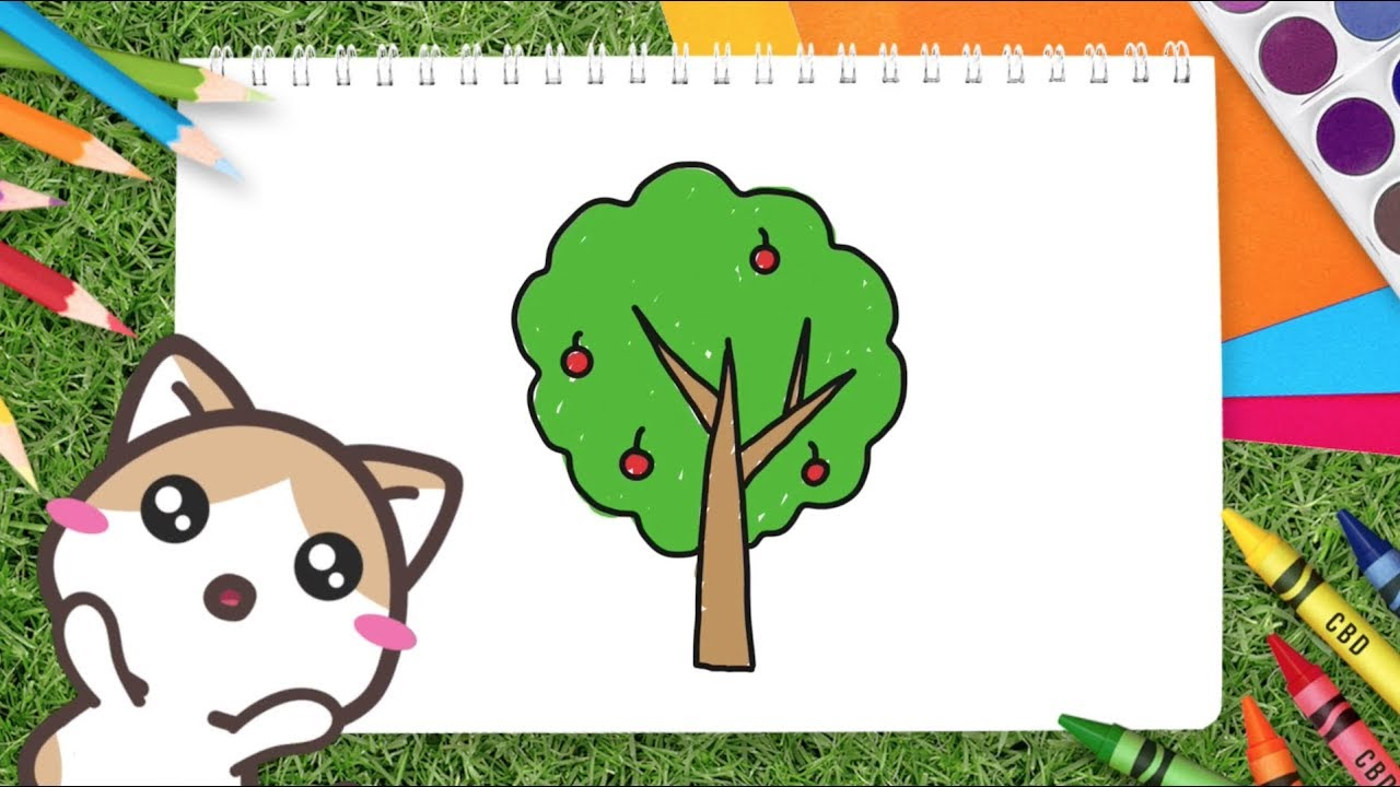 Belajar Menggambar Pohon | Belajar Menggambar dan Mewarnai untuk Anak Bersama Coki