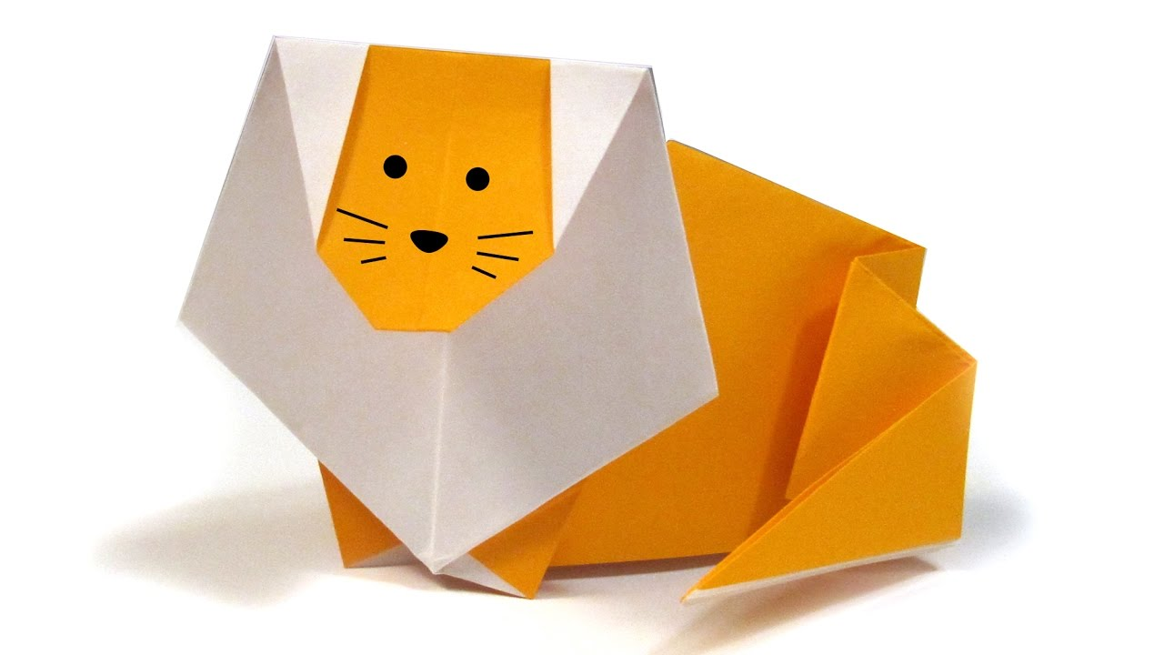 Easy Origami Lion - Easy Tutorial Origami - How to make an origami Lion