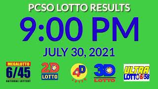 9pm Pcso Lotto Results Today July 30, 2021 2d 3d stl ez2 swertres