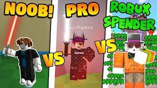 NOOB vs PRO vs ROBUX SpendER! (Simulateur de sabre Roblox)