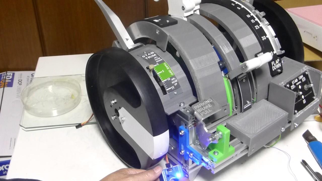 Gas Gauge Not Working >> Boeing 737 DIY Motorized Throttle Quadrant Test 35 Trim ...