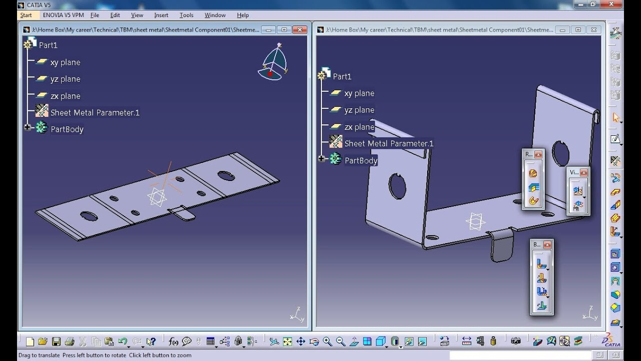 Catia V5 Tutorial Tiffening Rib Stamp Sheetmetal