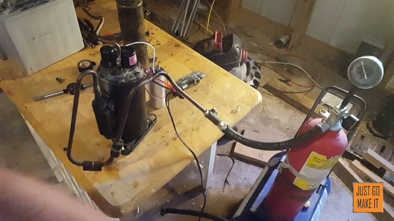 how to build a vaccum pump / air compressor out of a AC unit