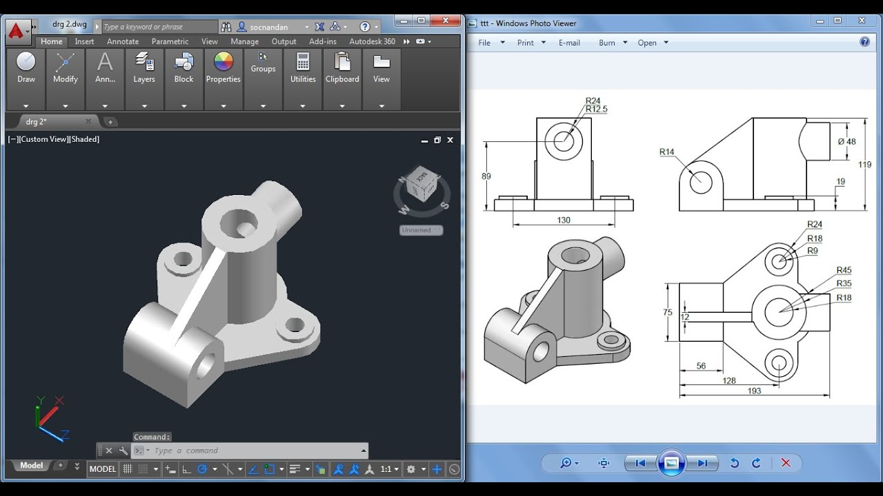 Autocad mechanical drawing exercises pdf tutorials for for Pdf a cad