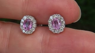 Estate Certified Natural VVS Pink Sapphire Diamond 14k White Gold Stud Earrings - C624