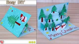 Very Easy ! DIY 3D Christmas Pop Up Card - How to make Christmas tree Card at Home | Craft