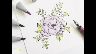 how to draw peonies for beginners | easy way |