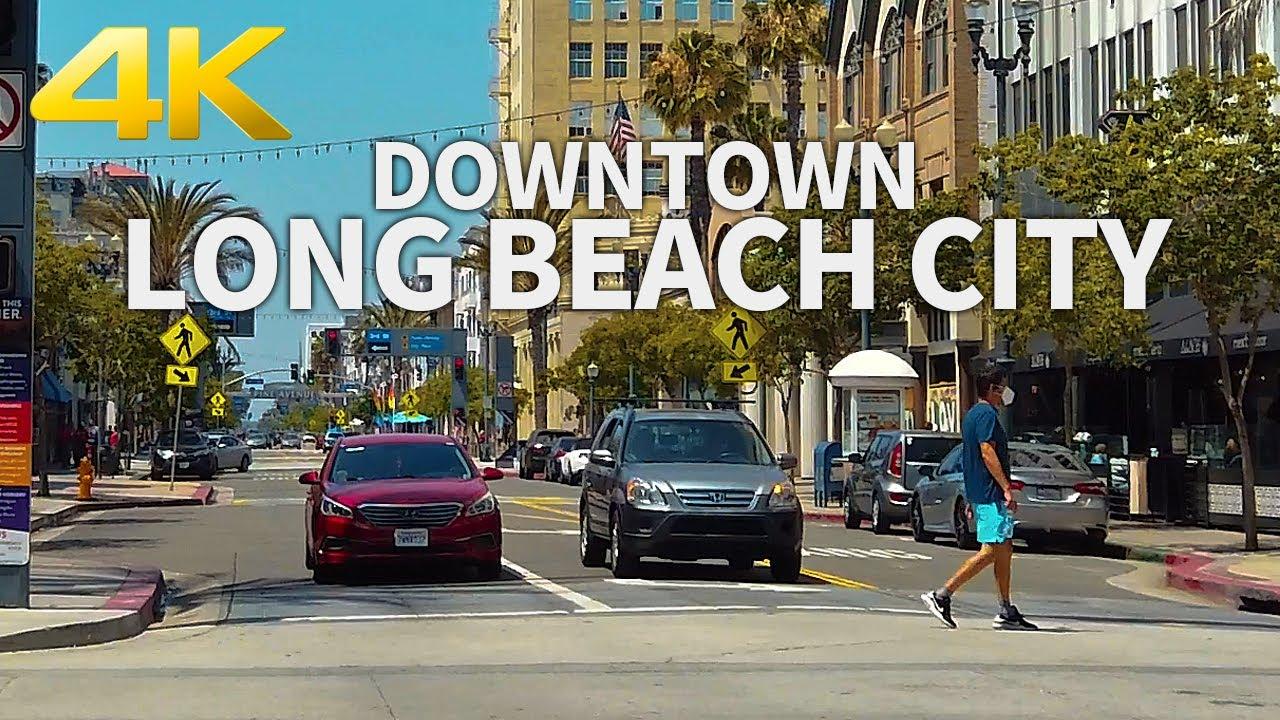 LONG BEACH REOPENS - Walking Downtown Long Beach City, Los Angeles, California, USA - 4K UHD