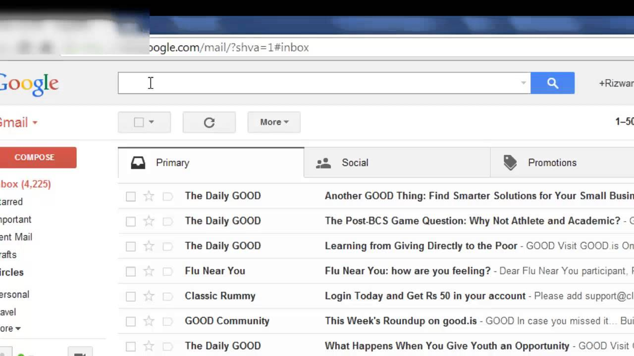 how to delete all gmail inbox messages at once youtube