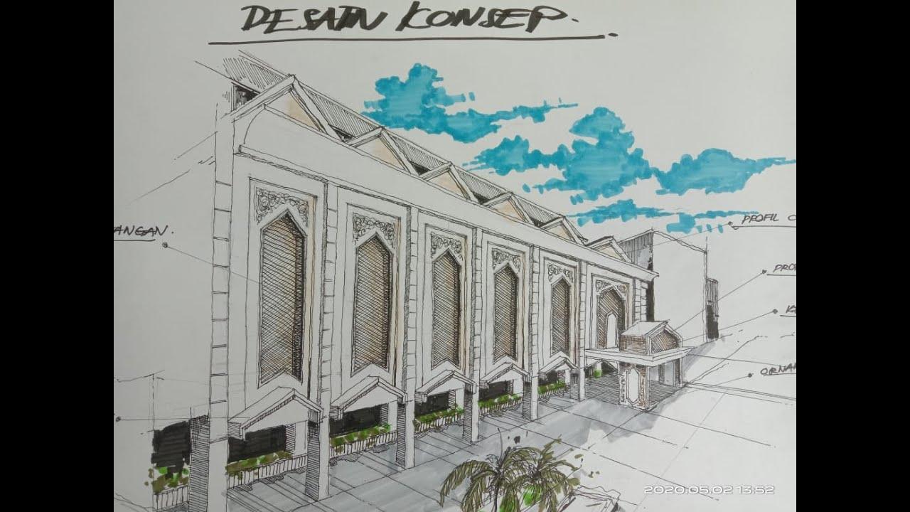Desain 1 Menggambar Sketsa Konsep Dasar Renovasi Masjid & Asrama Pondok Pesantren Lampung