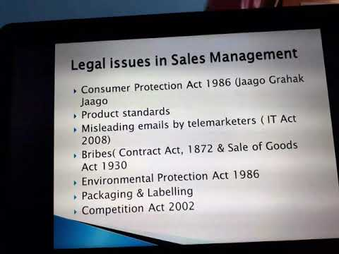 Social, Legal and Ethical Issues in Sales Management