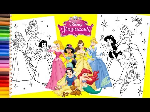 Disney Princess Ariel, Cinderella, Belle, Jasmine, Aurora & Snow White - Coloring Pages for kids