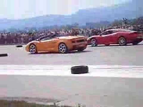 ferrari vs lamborghini gallardo 1 4 mile youtube. Black Bedroom Furniture Sets. Home Design Ideas