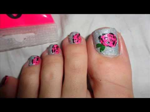 Wedding Pink Rose And Silver Pigment Toe Nail Art Tutorial By