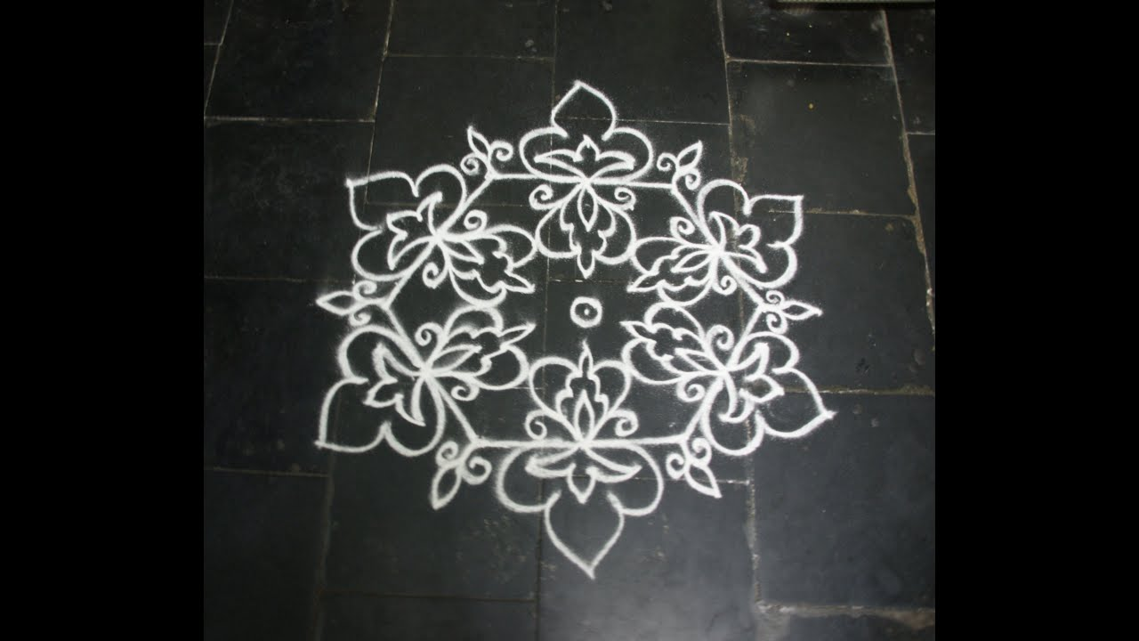 Simple Dotted Kolam With 9-5 Dots