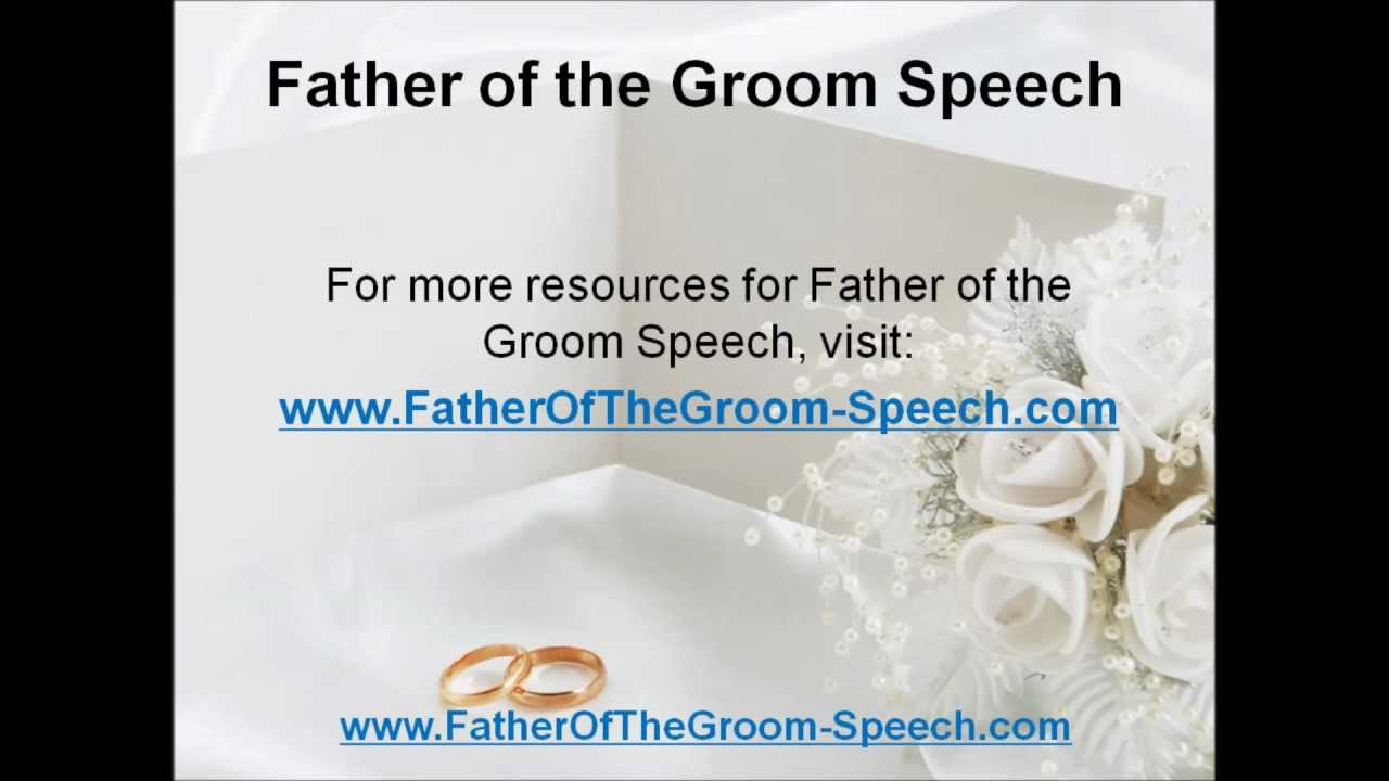 Free Father Of The Groom Speech Examples
