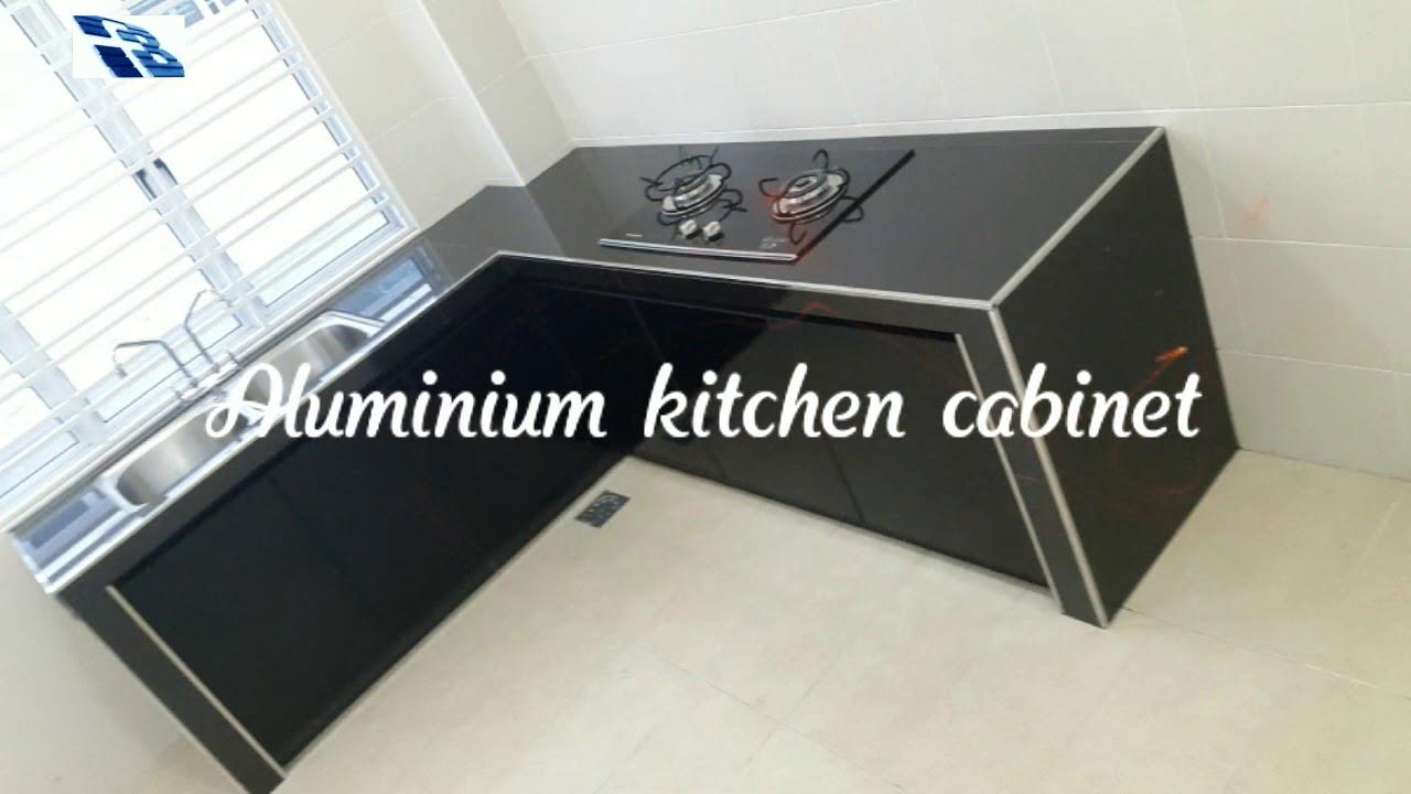 Aluminium kitchen cabinet   aluminium and glass with mosaic table top    kitchen cabinet   铝合金厨房   厨房