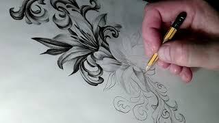 Эскиз тату поэтапно.Как нарисовать лилии. Рисунок простым карандашом.