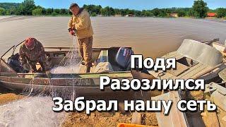 Ловля кеты сплавными сетями Посадили сеть с уловом на остров Рыбалка на реке Амур