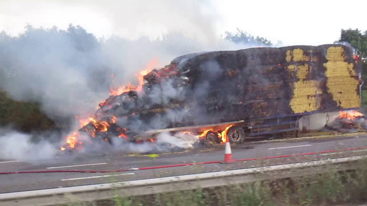 Image result for hay truck on fire