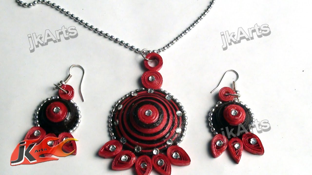 DIY Paper Quilling Jewelry Set How to make JK Arts 369 YouTube
