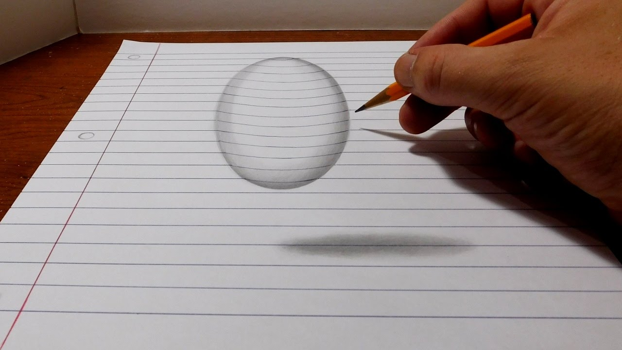 Easy 3d Line Drawings : How to draw a levitating ball easy d trick art youtube