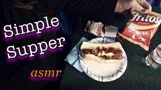 Quiet ASMR whisper 🎧 Simple Supper Tonight, Hotdog & Fritos
