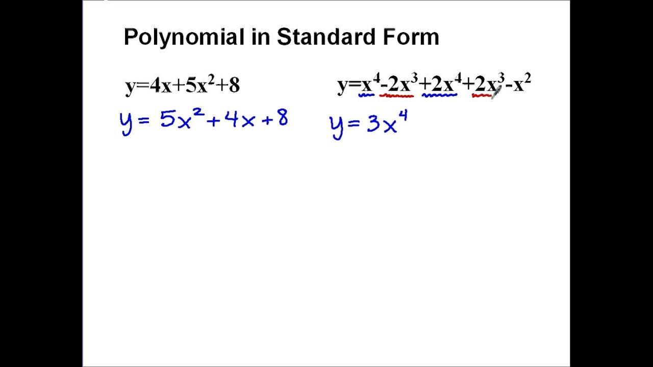 Polynomials in standard form youtube falaconquin