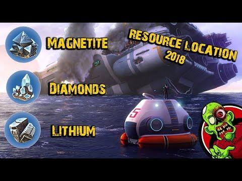 MAGNETITE DIAMONDS & LITHIUM LOCATIONS - Subnautica 2018